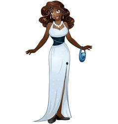 African woman in white evening dress vector