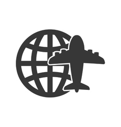 Airplane global silhouette travel icon vector