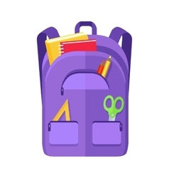 Backpack schoolbag icon with notebook ruler vector