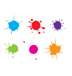 color paint splattersplash set vector image