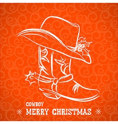 Cowboy merry christmas with cowboy boot and vector