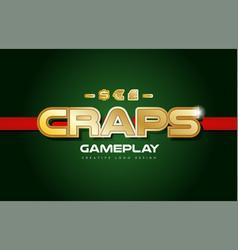 Craps word text logo banner postcard design vector