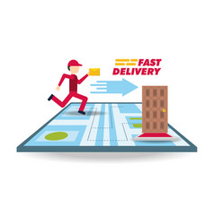 Delivery courier with message and map ubication vector