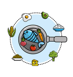 Fish inside of skillet pan with vegetables and vector