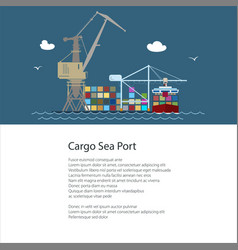 Flyer with cargo seaport vector