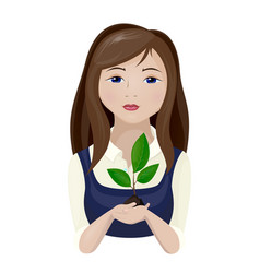girl with a plant vector image