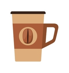 Glass disposable for hot drinks with handle vector
