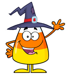 happy candy corn character with a witch hat vector image vector image