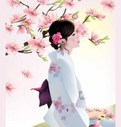 Japanese girl on cherry blossom background vector