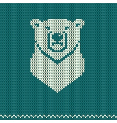 Knitted pattern with polar bear vector