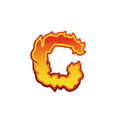 Letter c fire flames font lettering tattoo vector