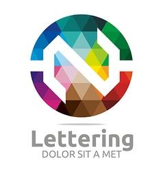 Lettering n rainbow alphabet design vector