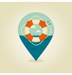 Lifebuoy pin map icon Summer Beach Sea vector image vector image
