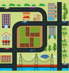 map of town with roads and buildings vector image