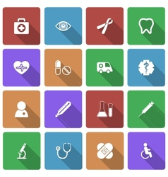 Medical Icons Set with Long Shadow vector image vector image