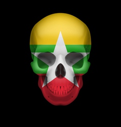 Myanmar flag skull vector