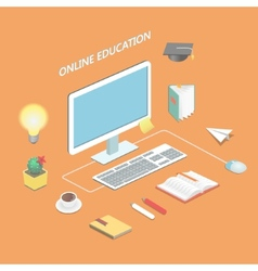 Online education e-learning science Isometric vector image vector image