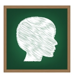 People head sign white chalk effect on green vector