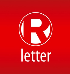 Round logo letter r on a red background vector