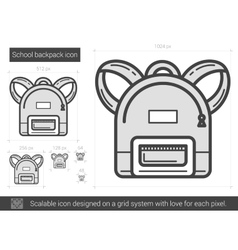 School backpack line icon vector