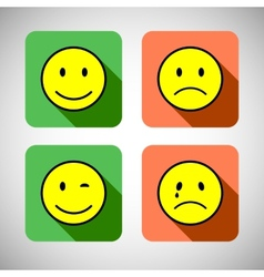Set of basic emotions in flat icon design vector image vector image
