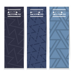 Set of three indigo blue graphic pattern banners vector