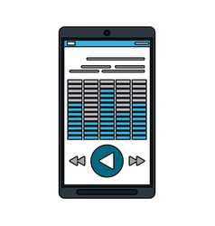 Smartphone with music player on screen icon image vector