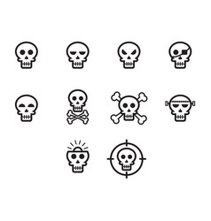 thin line skull icon set vector image vector image