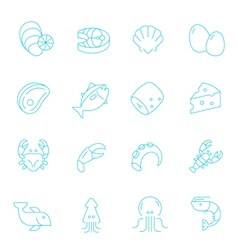 Thin lines icon set - raw food material vector image