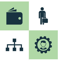 Trade icons set collection of hierarchy work man vector