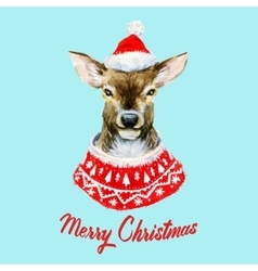 Watercolor christmas deer vector