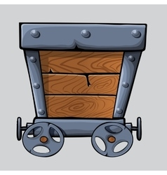 wooden mine cart vector image vector image