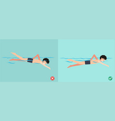 wrong and right ways for swimming vector image vector image