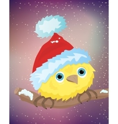 yellow bird with santa hat vector image vector image