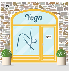 Yoga center building facade vector