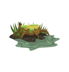 Old stump submerged in water jungle landscape vector