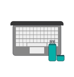 Computer and usb drive icon vector