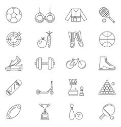 Sport line art isolated icons set vector