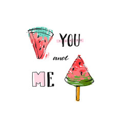 Hand drawn funny background with watermelon vector