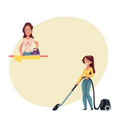 Pretty young woman housewife washing and vacuum vector