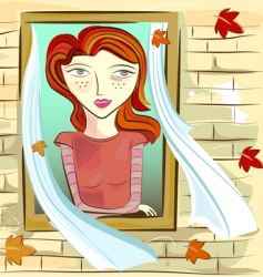 Girl and window vector