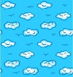 Drawn seamless pattern with clouds and birds vector image