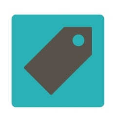 Tag flat grey and cyan colors rounded button vector