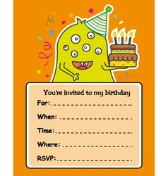Monster birthday card vector