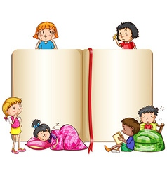 Empty book and children sleeping vector