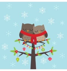 Christmas card with owls vector
