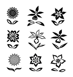 Flower set black silhouettes on white background vector