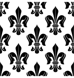 Black and white fleur-de-lis floral pattern vector