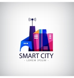 Smart city real estate logo business vector
