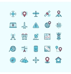Maps and location flat icons vector